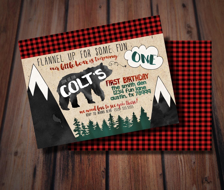 Lumberjack Birthday Invitation/ Lumberjack Birthday/   Etsy
