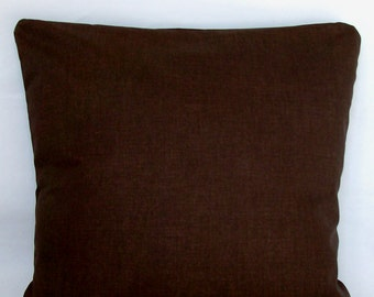 Brown Throw Pillow Cover, 18x18 or 20x20 inch Decorative Toss Cushion Cover - Solid Dark Chocolate Brown, Sofa Pillow Case
