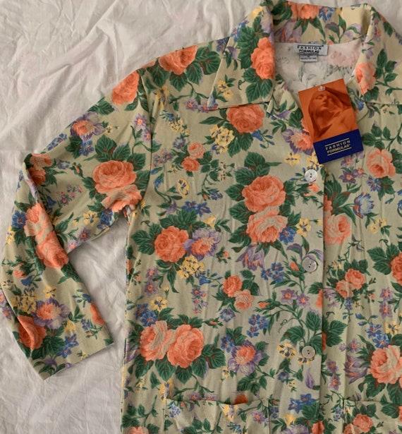 80s floral duster smock artist jacket