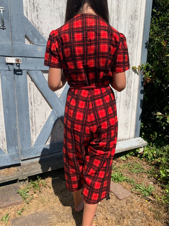 50s red plaid jumpsuit flannel pretty special