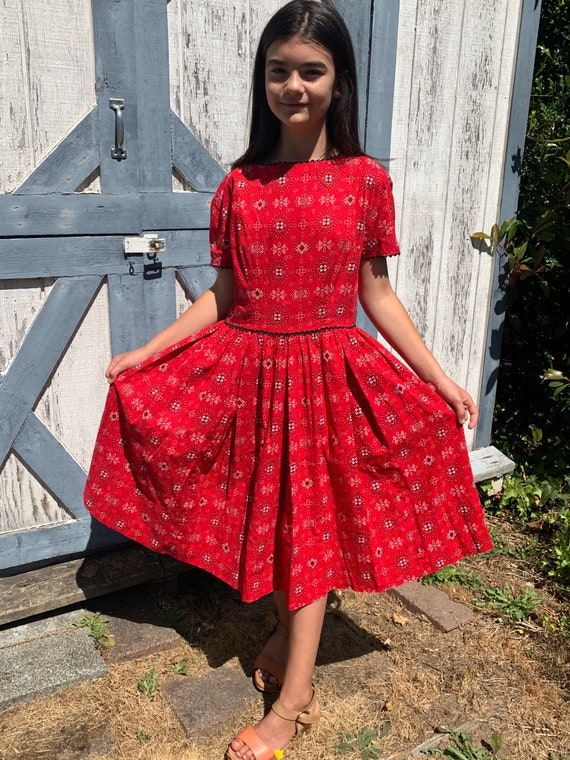 50s red bandana dress