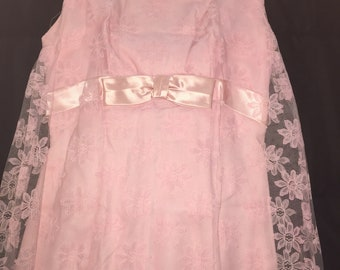 1960s wedding party pink satin n lace gown