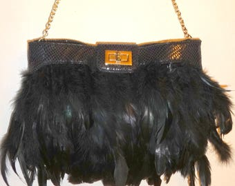 40390dee7a FEATHER PURSE from Aldo of Canada Bag Chain Strap Satin lining BLACK Vintage