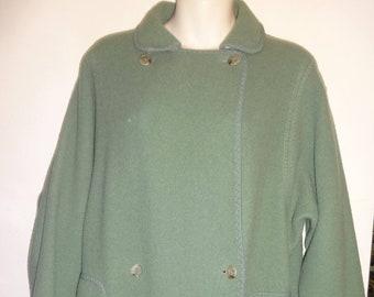 da5fd22567f German-style Double-sided Wool Coat WETHERALL UK Sage Pretty Green Swing Coat  Long Womens M L Wide Hip