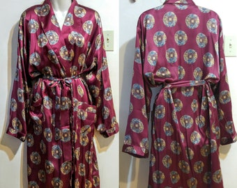 8fd1dd6e8f NEW Ladies 100% Silk Robe Intimate Dressing Gown Light Sexy Maroon Asian  Print