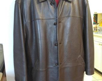 c2d759ec525 DANIER XL 2X XXL 48 50 Mens Leather Coat Stocky Winter Liner Oversized  Jacket Brown Sheepskin Supersoft