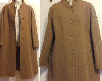 Womens XL St. Michael Camel Brown Long Swing Coat Marks   Spencer 100% WOOL  Winter Warm Wide Hip High Neck Cozy Mint UK-made 16 18 Maternity 32f170585