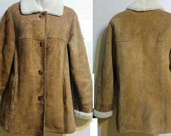 64f457b982e993 Womens DANIER Leather 100% Sheepskin Shearling Jacket Fall Winter Coat  Brown EUC 10 12 M L Canada
