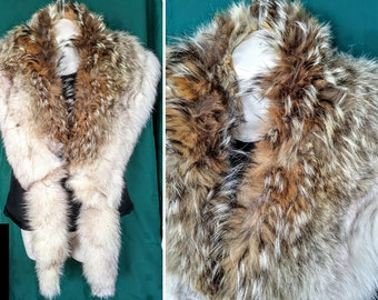 """Luxurious REAL FUR STOLE 72"""" long Coyote Fox Fur Cape wrap thick White brown"""