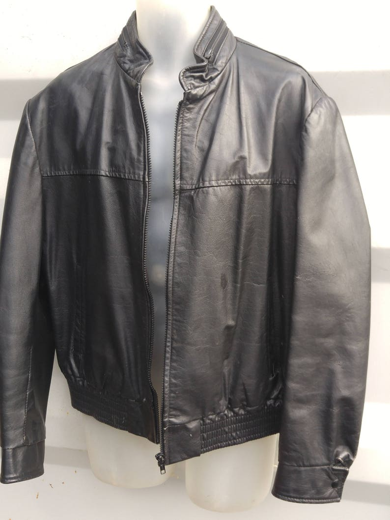 5470512f4f10a MENS L Vintage 42 44 Black Leather Jacket Fall Short Coat Made | Etsy
