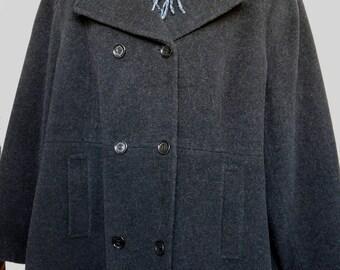 3X CALVIN KLEIN Gray Peacoat Jacket Wool blend Pea Coat 48 50 52 EUC Free Scarf Womens Plus Size