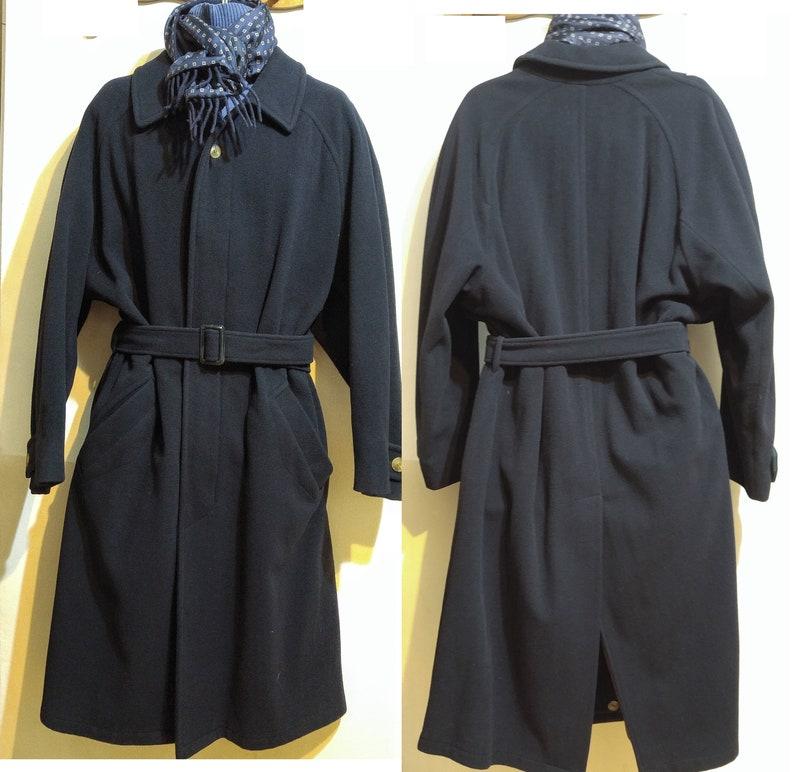 40e8f099 Mens 44R LUXADOR Malta Long Wool Overcoat & Christian Dior Silk Wool Rev  Scarf Navy Blue Large L Mans Winter Jacket Coat