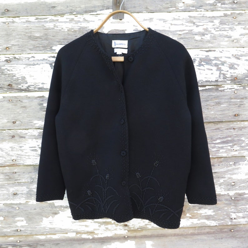 Vintage Black Beaded Wool Cardigan Sweater 1950s 1960s Neusteters Hong Kong Fine Knit 100/% Zephyr Wool Beads Buttons Women/'s Holiday Fashion