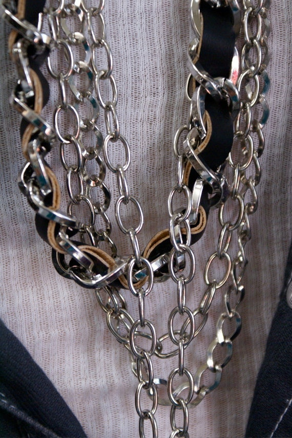 1980's Multi- Chain Necklace/ Belt Leather