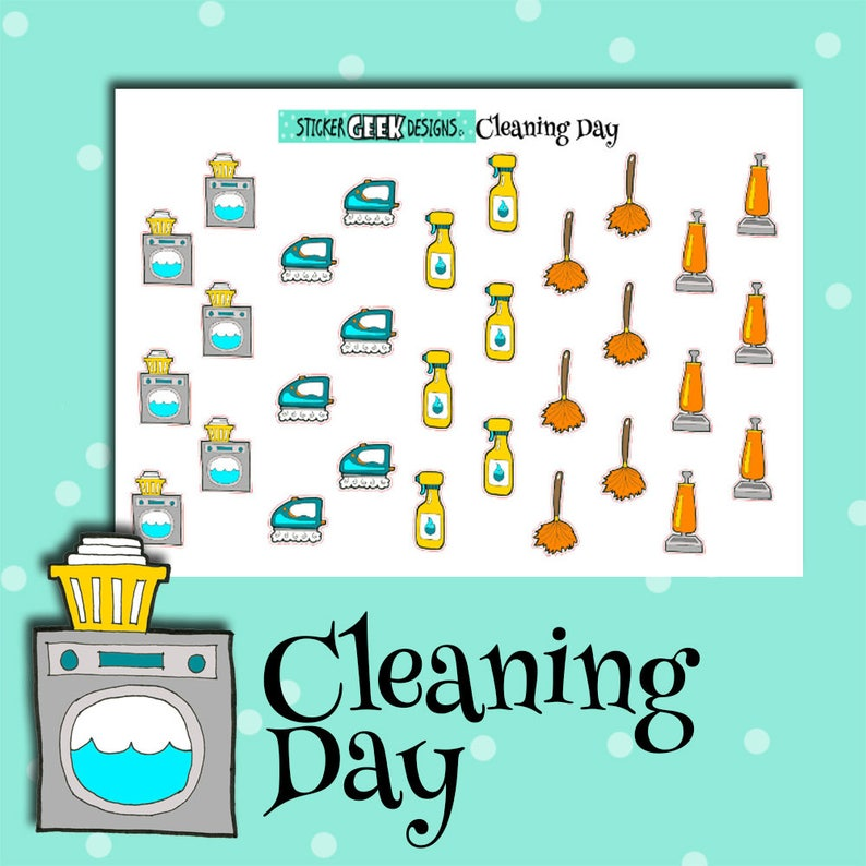 Planner Stickers  Cleaning Day Sampler Stickers  Laundry  image 0