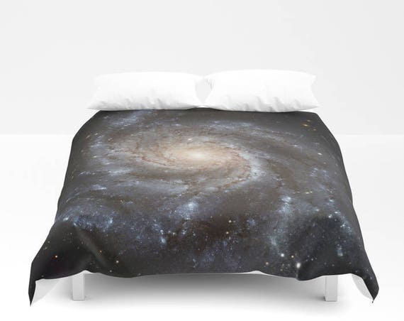 "Spiral Galaxy Duvet Cover by Suzanne Carter, Space,universe,cosmos,stars,galaxy, bed linen,duvet cover,bedroom,sleep, art, 88"" x  88"""