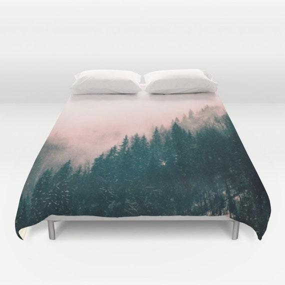 "Pink Haze Duvet Cover by Suzanne Carter, duvet,Pink, Forest,Pine Trees, Nature Art,bed linen,duvet cover,bedroom,sleep, art, 88"" x  88"""