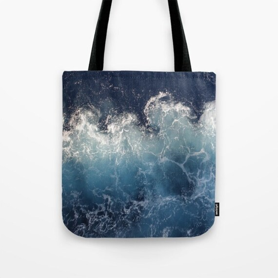 Ocean Waves All Over Print Tote Bag