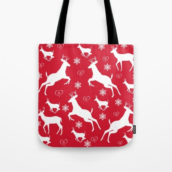 Christmas Pattern Tote Bag, Photo Bag, Unique Market Bag,Library Bag,Red,White, Deer,Snowflakes, Accessory, Bags and Purses,16 x 16, 18 x 18