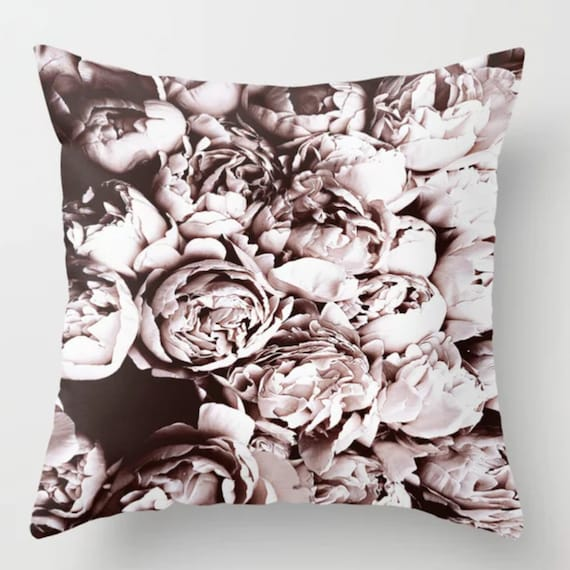 Peony Black Pillow Cover