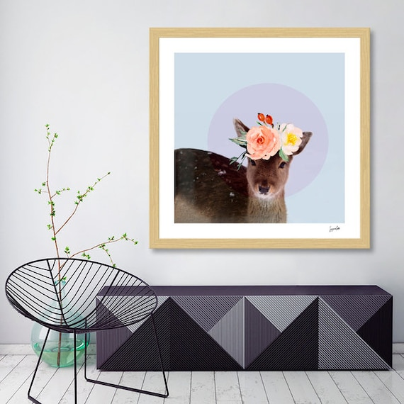 Oh Deer floral baby printable wall art