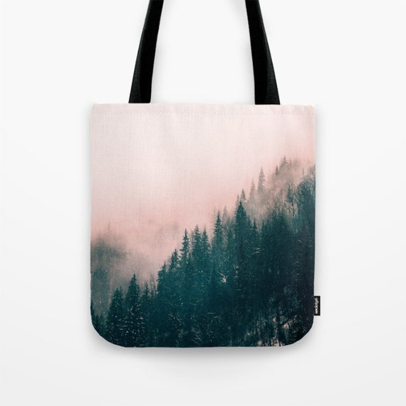 Pink Haze Tote Bag, Unique Market Bag,landscape ,Forest,Pink, foggy,Mist,Pine Trees, Accessory, Bags and Purses, 16 x 16, 18 x 18g