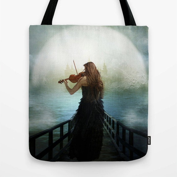 Heavenly Hope Tote Bag, Unique Market Bag,Surreal,violin, Hope,Grey,Heaven, Accessory, Bags and Purses, 16 x 16, 18 x 18g