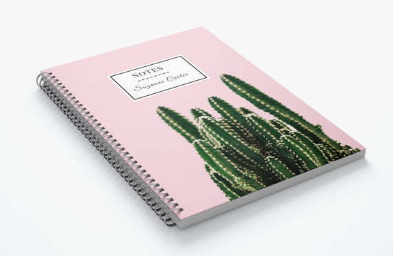 Pink Cactus Customisable- Spiral Notebook