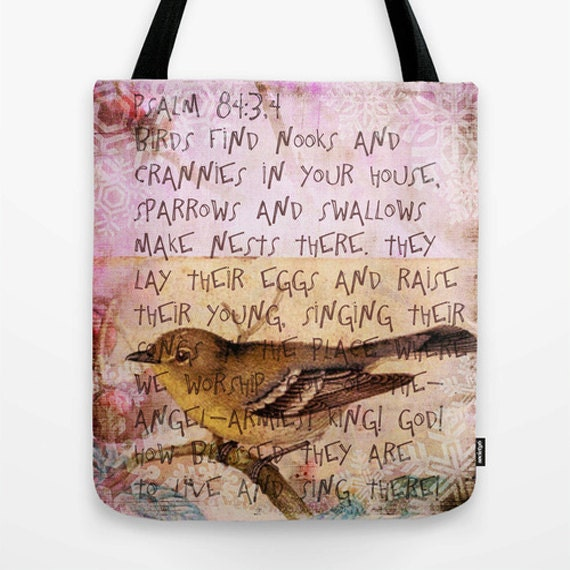 Birds have nests Market Tote Bag, Unique Market Bag,Vintage, Birds,Pink,Bible Verse, Pretty, Accessory, Bags and Purses, 16 x 16, 18 x 18g