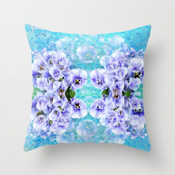Lilac Pillow Cover by Suzanne Carter Home Decor, Pillow, pansies, Home Decor,Lounge Room, Living Room, 18 x 18, 22 x 22