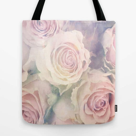 Faded Beauy Market Tote Bag, Unique Market Bag,Vintage,Fashion,Pink, Digital Art,Roses, Accessory, Bags and Purses, 16 x 16, 18 x 18
