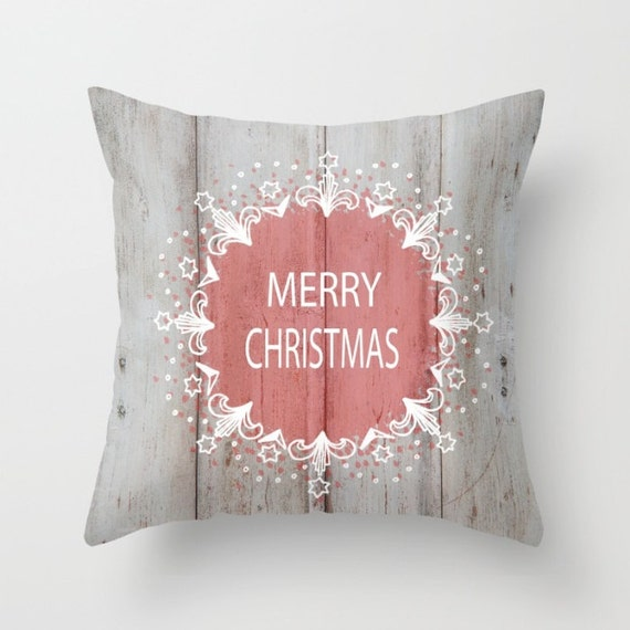 Merry Christmas Pillow Cover, Home Decor, Pillow, Pink,Stencil,Holiday,Festive,  Lounge Room, Living Room, 18 x 18, 22 x 22