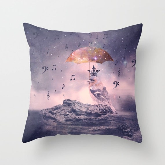Down-Pour Pillow Cover, Vintage,Purple, Pink, Digital Art ,Unique, Hope, Lounge, Living, Home Decor, 18 x 18, 22 x 22