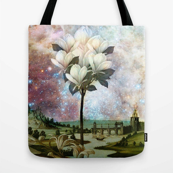 The Magnolia Tree Market Tote Bag, Photo Bag, Unique Market Bag, Pink,Vintage,Library Bag, Accessory, Bags and Purses, 16 x 16, 18 x 18