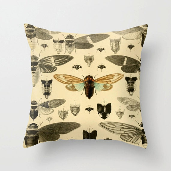 Vintage Cicada Pillow Cover,