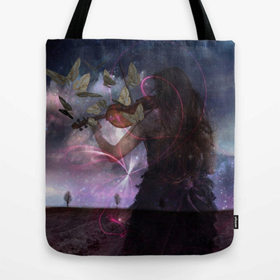 The Violin Market Tote Bag, Unique Market Bag,Vintage,Violin, Purple, Digital Art, Fantasy, Accessory, Bags and Purses, 16 x 16, 18 x 18g