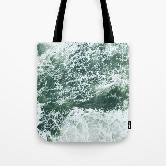 Wild Market Tote Bag, Unique Market Bag,Sea,Waves,Ocean,Nautical,Green, Accessory, Bags and Purses, 16 x 16, 18 x 18g