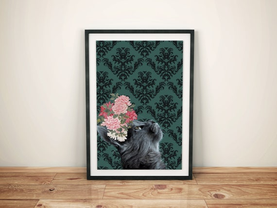 Floral Cat Kids Printable Art