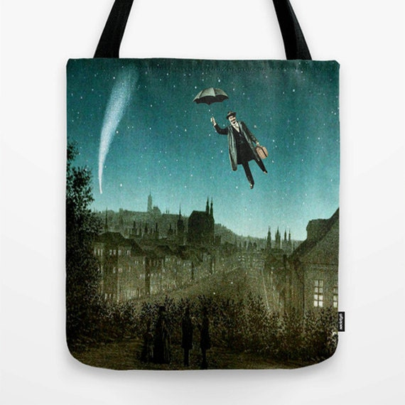 The Departure Market Tote Bag, Unique Market Bag,Digital Art, Surreal,Green, Vintage, Accessory, Bags and Purses, 16 x 16, 18 x 18g