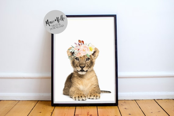 Lion Cub with floral crown printable
