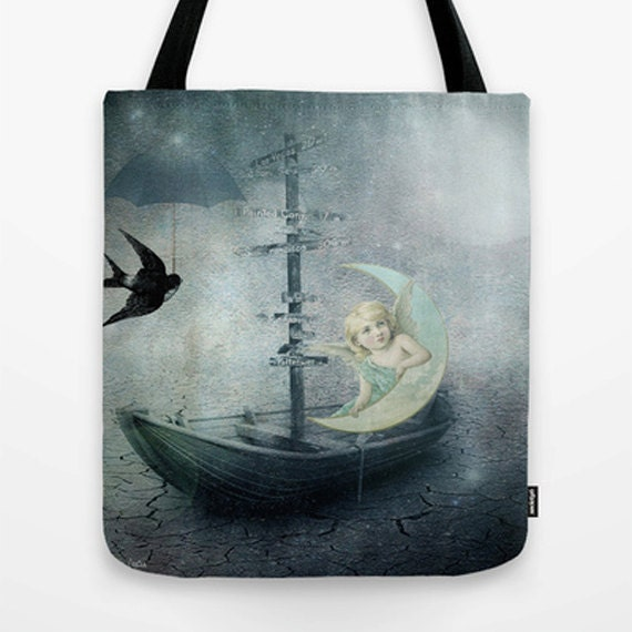 She heard a rumor of rain Tote Bag, Unique Market Bag,Surreal, Angel, Grey,Whimsy, Vintage, Accessory, Bags and Purses, 16 x 16, 18 x 18g