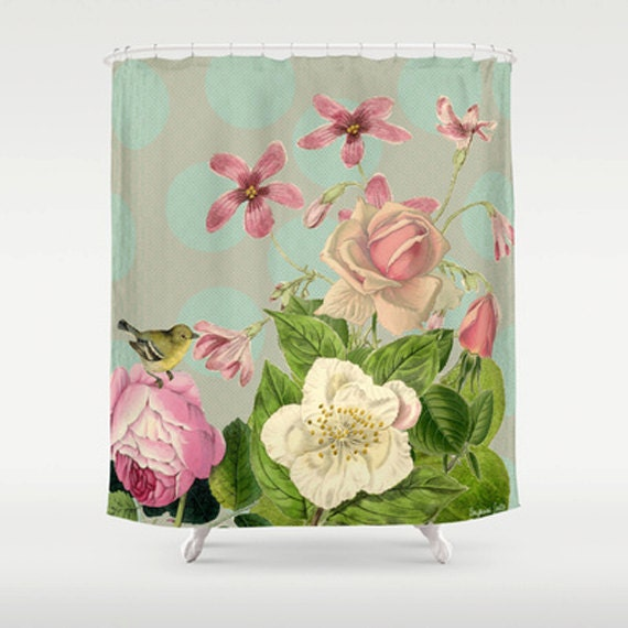 """Vintage Garden  Shower Curtain by Suzanne Carter: Mixed Media, Art, vintage flowers, Pink, home decor, SHOWER CURTAIN / 71"""" BY 74"""""""