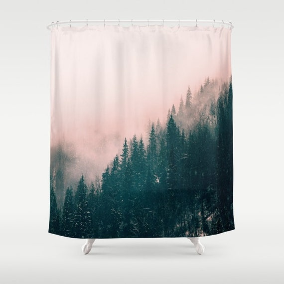 """Pink Haze Shower Curtain by Suzanne Carter: Pine Forest,Naure,Haze,Pink,Trees,Landscape, home decor, SHOWER CURTAIN / 71"""" BY 74"""""""