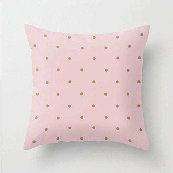 Pink & Gold Polka Dot Pillow Cover, Polka Dot, Pink, Gold, Pillow,Home Decor, Lounge, Living Room, Bedroom, 18 x 18, 22 x 22