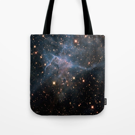 Mystic Mountain Nebula Market Tote Bag, Unique Market Bag,Space,Black, Astronomy,Nebula,Art, Accessory, Bags and Purses, 16 x 16, 18 x 18g