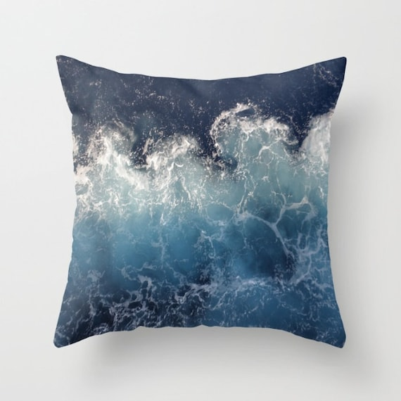 Ocean Waves Pillow Cover,Blue ,Waves,OceanNautical,Sea, Pillow,Home Decor, Lounge, Living Room, Bedroom, 18 x 18, 22 x 22