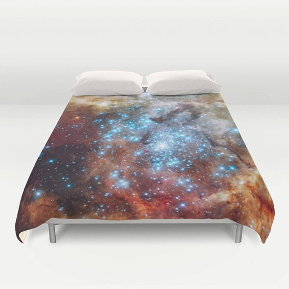 "Star Cluster Duvet Cover by Suzanne Carter, duvet, Space,universe,cosmos,stars,galaxy, bed linen,duvet cover,bedroom,sleep, art, 88"" x  88"""