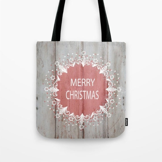 Merry Christmas Tote Bag, Unique Market Bag, Mixed Media, Art, Accessory, Bags and Purses, 16 x 16, 18 x 18