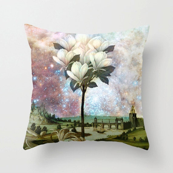 The Magnolia Tree Pillow Cover, Home Decor, Pillow, Vintage, Pastel Colors, Pattern, Lounge Room, Living Room,Pink, 18 x 18, 22 x 22