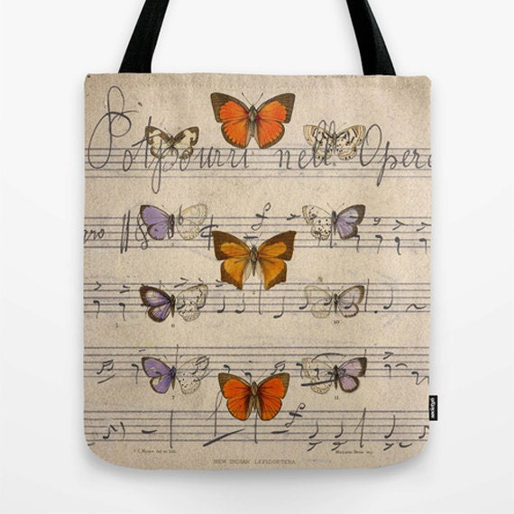 Butterfly Opera Market Tote Bag, Photo Bag, Unique Market Bag,Vintage,Library Bag,Butterflies, Accessory, Bags and Purses, 16 x 16, 18 x 18